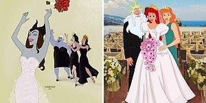 Как бы выглядели свадебные фотографии принцесс и злодеек Disney, если бы они вышли замуж (7 фото)