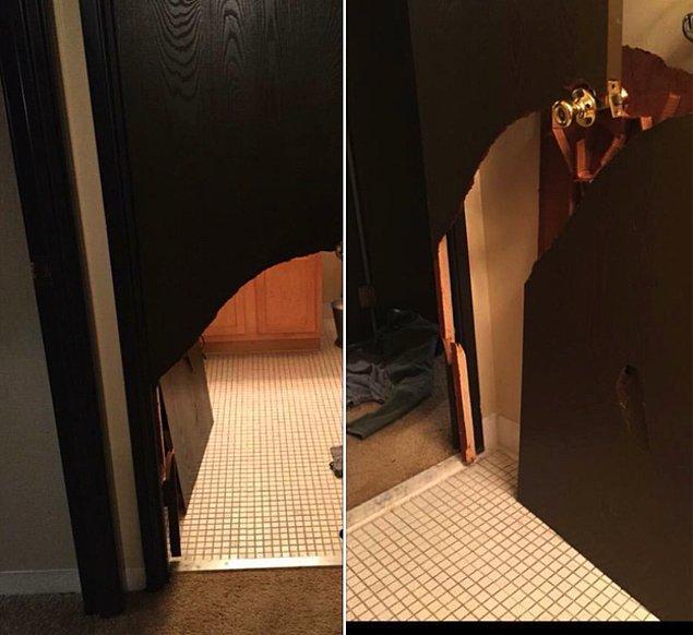 """5. """"Kız arkadaşımın telefonunu alıp kendimi tuvalete kilitlemiştim. Kapıyı bu hale getirdi sanırım beni aldatıyor."""""""