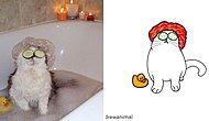 Художник превратил смешные фото с кошками в картинки, и вот 15 самых лучших из них