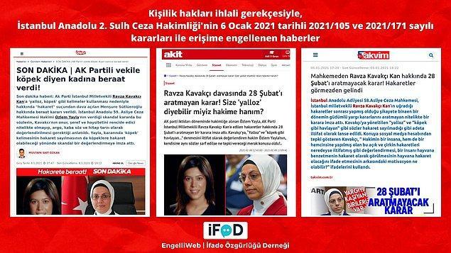 AKP İstanbul Milletvekili Ravza Kavakcı Kan'a hakaret ettiği gerekçesiyle yargılanan Menşure Sütlüeroğlu'na beraat kararı veren hakim ile ilgili haberler erişime engellendi.