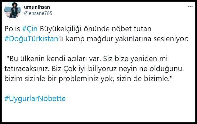 """""""@ehsane765"""" isimli Twitter kullanıcısı son olarak ise polisin kamp mağduru yakınlara seslendiğini aktardı."""