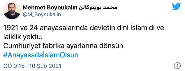 """Ayasofya baş imamı mesajını """"#AnayasadaİslamOlsun"""" etiketiyle bitirdi."""