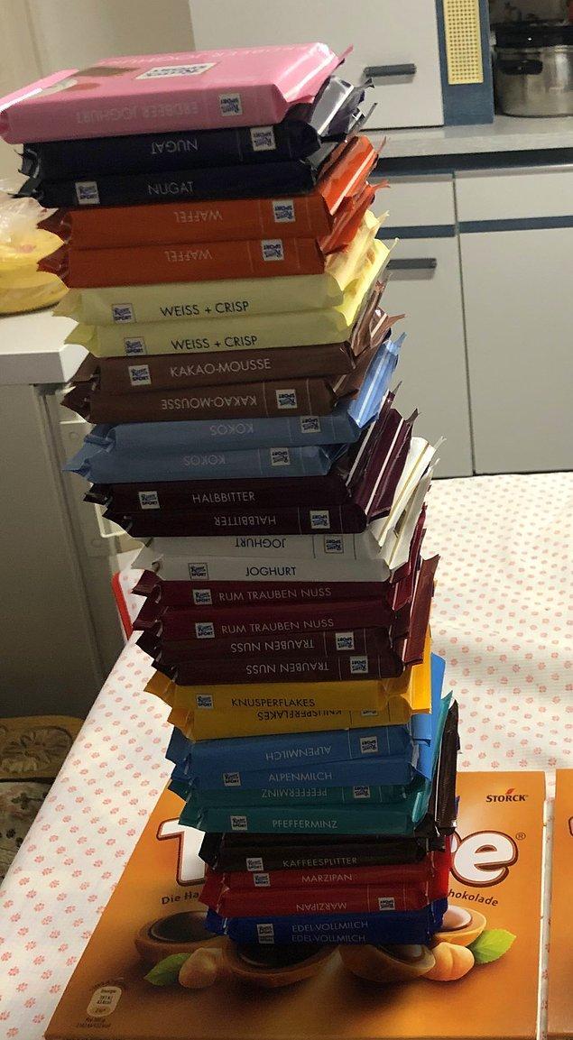 Söylediğine göre, görseldeki bütün çikolatalara toplamda yaklaşık 22 Euro vermiş!