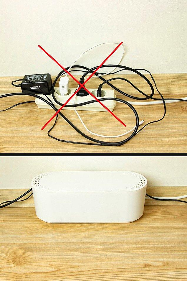 3. Ofis masasının olmazsa olmazı karışık kablolar