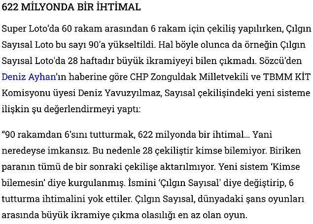 Benzer iddiaları CHO Zonguldak Milletvekili Deniz Yavuzyılmaz da dile getirmiş ve 622 milyonda 1 ihtimal olduğu hesaplanmıştı.