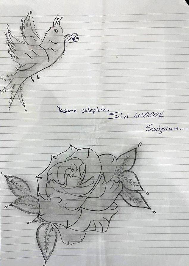 """Ağzında mektup getiren uçan bir kuş resmi çizen İpek, """"Yaşama sebeplerim. Sizi çooook seviyorum"""" yazıp, resmin yan kısmına ise büyük bir gül çizdi. İpek, son çizdiği resimde ise iki kuş, gül ve büyük bir kalp içerisine kızlarının ve kendi ismini yazdı."""