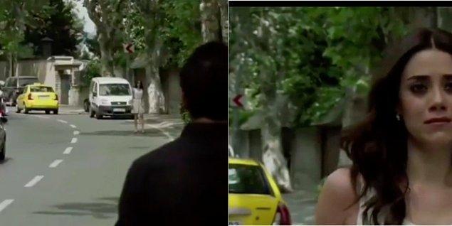 5. İlk sahnede Eyşan taksiden iniyor ve taksi de uzaklaşıyor fakat ikinci sahnede Eyşan yürümeye başladığında taksiyi arkasında görüyoruz.