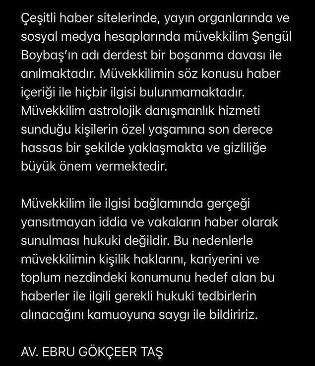 Şengül Boybaş, bugün avukatı aracılığıyla yaptığı açıklamada bu iddiaları reddetti ve Reza Zarrab - Ebru Gündeş ayrılığı ile ilgisi olmadığını söyledi.