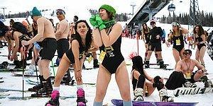 В Шерегеше прошел ежегодный фестиваль массового спуска на лыжах в купальных костюмах