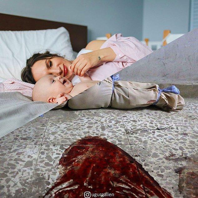 1. Suriyeli bir bebeğin hastane zemininde kefene sarılmış bedeni.