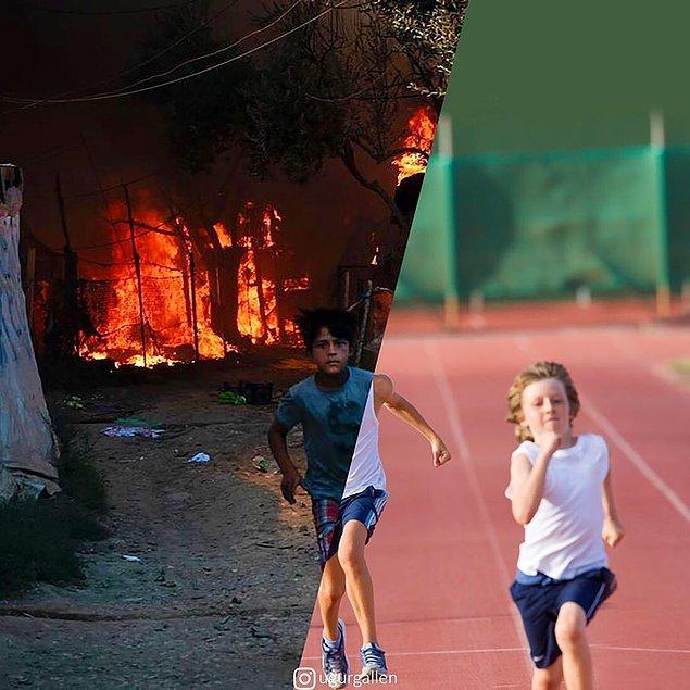 10. 9 Eylül 2020'de çıkan yangınlar Moria mülteci kampını tamamen yok ettikten sonra bir çocuk kamptan kaçtı.