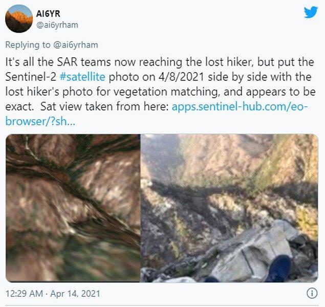 Kuo, uydu fotoğrafları ve Compean'ın yolladığı fotoğrafı karşılaştırarak kayıp adamın konumunu ortaya çıkardı.