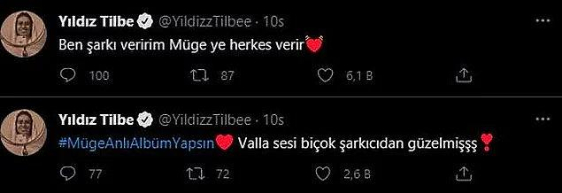 12. Sosyal medya hesabından şarkı söylediği görüntüleri paylaşan Müge Anlı'ya Yıldız Tilbe'den destek geldi.
