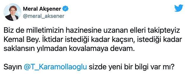 Akşener, Kılıçdaroğlu'nun sorusunu 'Yılmadan kovalamaya devam' sözleriyle yanıtladı.