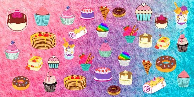 6. Görseldeki tatlılardan hangisi tektir?