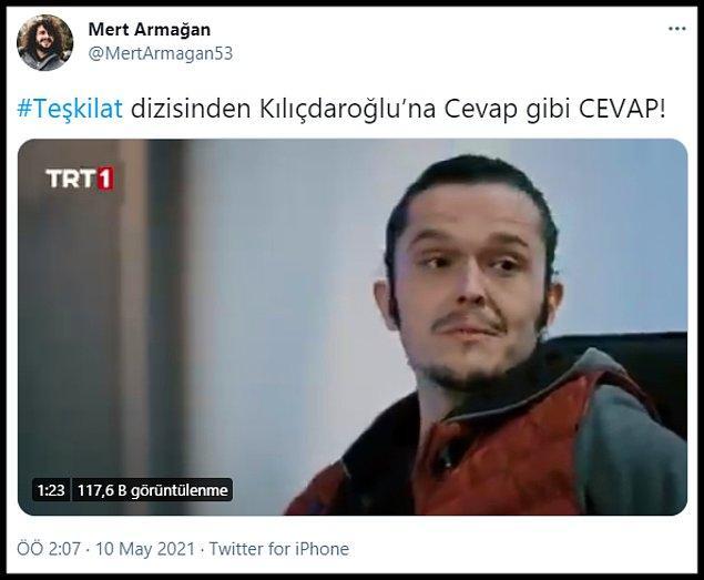 """Tepki çeken sahneyi ise 'Kıvırcık' olarak bilinen Mert Armağan, Twitter'da """"#Teşkilat dizisinden Kılıçdaroğlu'na Cevap gibi CEVAP!"""" sözleri ile paylaştı."""