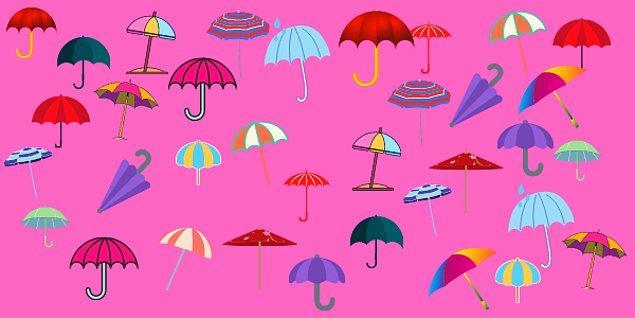 10. Şemsiyelerden birinin çifti yok. Hangisi?