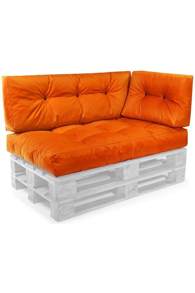 1. Dekoratif palet koltuklar için renkli bir minder seti...