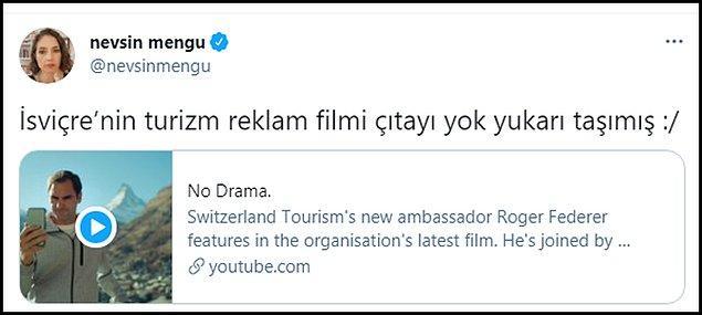 """Skandala tepkiler sürerken Gazeteci Nevşin Mengü, İsviçre'nin reklam filmini """"İsviçre çıtayı yok yukarı taşımış"""" notuyla paylaştı."""