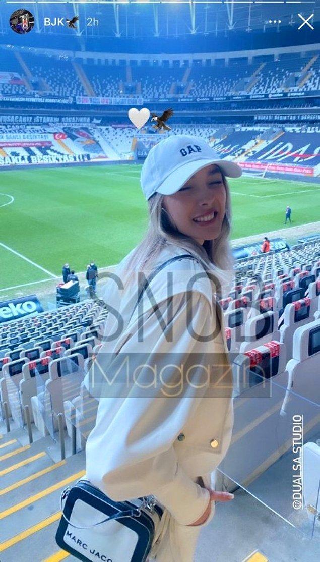 Beşiktaş'ın maçlarını yakından takip eden Ukraynalı güzel, daha önce de Sergen Yalçın sayesinde maçları stadyumdan izlemiş.