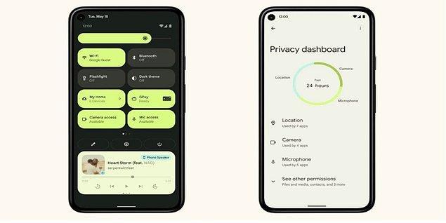 Yeni Android 12 göz zevkimizi ön planda tutarak tasarlanmış. Kullandığımız duvar kağıdının renklerini analiz ederek, aynı renkleri ya da o renklere en uyumlu olanları telefonun genel arayüzüne uygulayarak estetiği arttıracak.