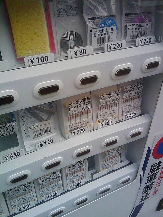 """4. """"Japonya'da lehim ve direnç rezistans teli satan bir otomat."""""""