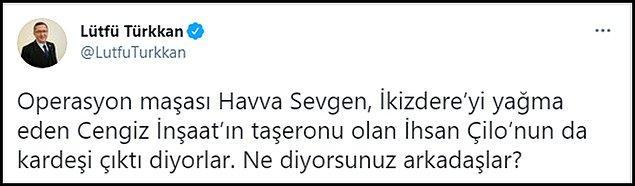 """Türkkan son olarak """"Operasyon maşası Havva Sevgen, İkizdere'yi yağma eden Cengiz İnşaat'ın taşeronu olan İhsan Çilo'nun da kardeşi çıktı diyorlar. Ne diyorsunuz arkadaşlar?"""" dedi. 👇"""
