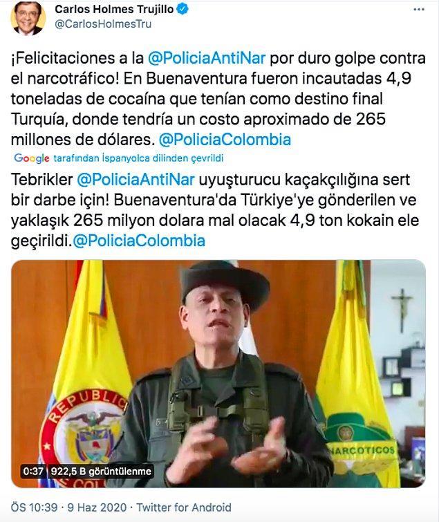 Yapılan kısa bir araştırmada 5 tona yakın yaklaşık o dönem 265 milyon dolar değerindeki uyuşturucunun Haziran ayında yakalandığı ortaya çıktı.  Kolombiya Savunma Bakanı Carlos Holmes Trujillo, Twitter hesabından paylaştığı mesajda narkotik polisini tebrik etmişti.