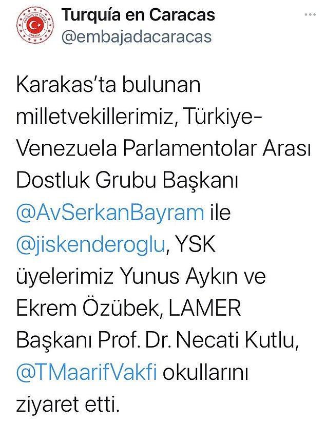 Bu olayın ardından Aralık 2020'de yani yaklaşık 6 ay sonra Türkiye-Venezuela Parlementolar Arası Dostluk Grubu ülkeyi ziyaret etmiş.