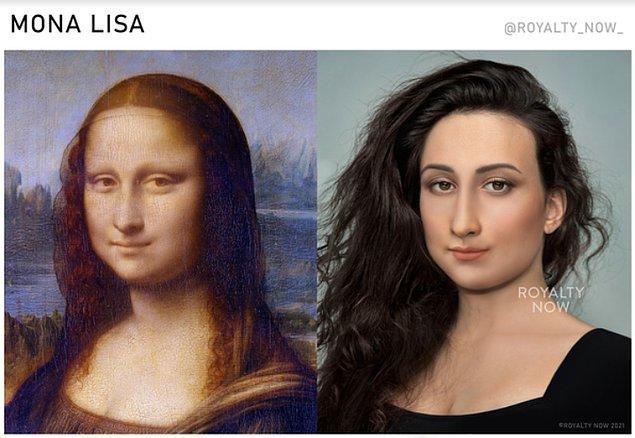 """ve Leonardo da Vinci'nin """"Mona Lisa""""'sı gibi ünlü tabloları da modernleştirdi."""