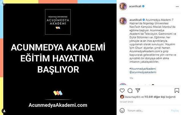 Medya patronu Acun Ilıcalı, Instagram hesabından Nişantaşı Üniversitesi'nde 'AcunMedya Akademi' adında bir bölüm açıldığını duyurdu. Akademi, 7 Haziran'dan itibaren NeoTech Kampüsü'nde eğitime başlayacak.