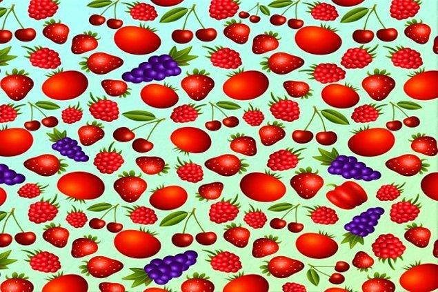 6. Görseldekilerin hepsi meyve 1 tane sebze var. Onu bulabildin mi?