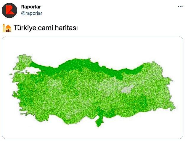 Hazır camii gündemken Raporlar isimli Twitter sayfası da Türkiye'deki camii sayılarını gösterdiğini iddia ettiği  bir harita yayınladı. Haritaya göre camii yoğunluğu epey fazla.