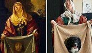 Художница, которая скучала со своей собакой на карантине, воссоздала известные картины, и вот 18 лучших из них