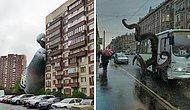 20 неожиданных и креативных фото-манипуляций с улицами России, заполненными гигантскими животными