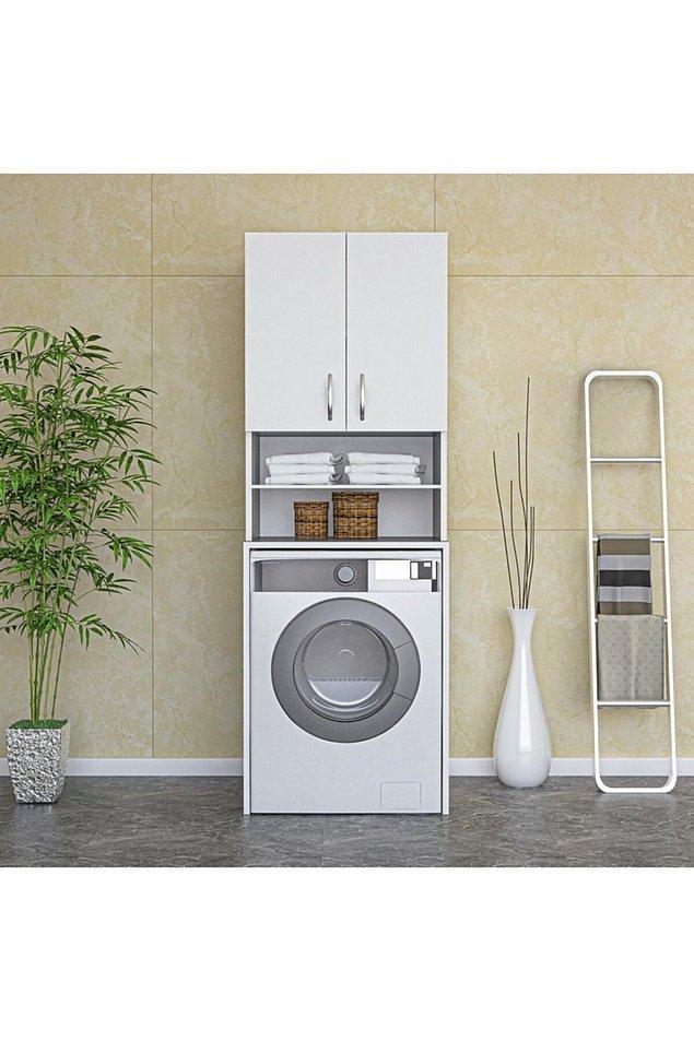 8. Çamaşır makinesi bölmeli banyo dolabı...