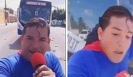 Бразильского комика в костюме Супермена сбивает автобус, когда он изображал, что останавливает его рукой