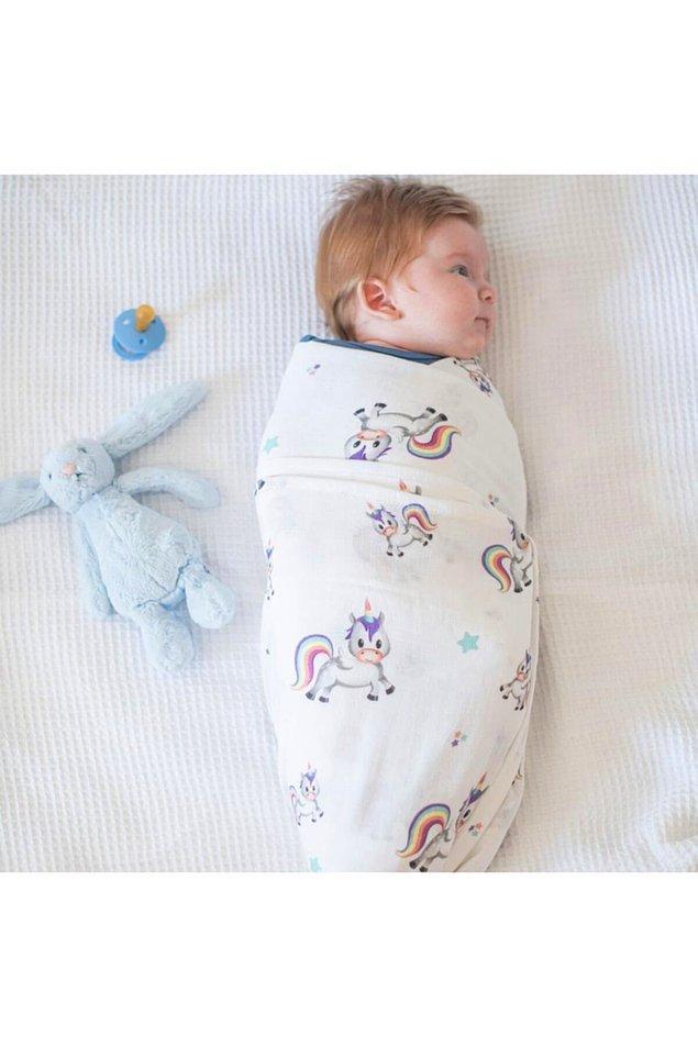 19. Bebeğinizi sarıp sarmalayacak yumuşacık %100 pamuk bir müslin örtü...