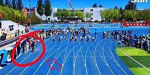 Оператор, который побежал со спортсменами, чтобы записать гонку, прибежал у финишу первым