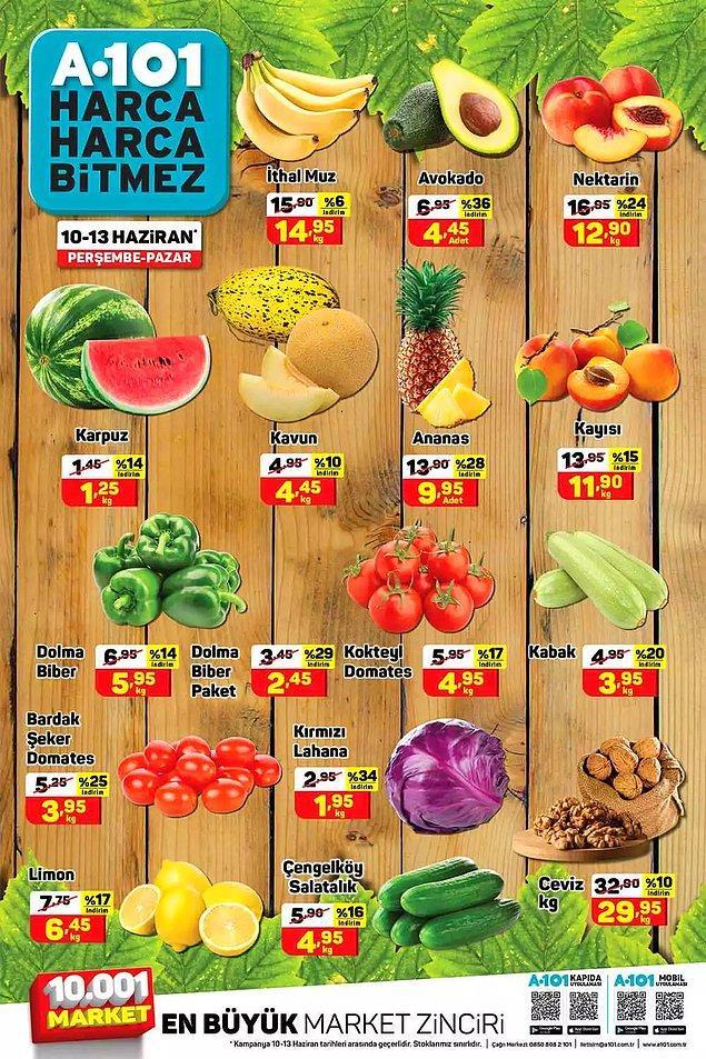 10-13 Haziran tarihlerinde A101'de sebze meyve günü.