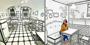 Необычное 2-D кафе в России сделано в виде комикса (22 фото)