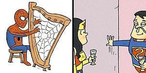 Без лишних слов, художник показывает, что супергерои делают в свободное время (20 комиксов)