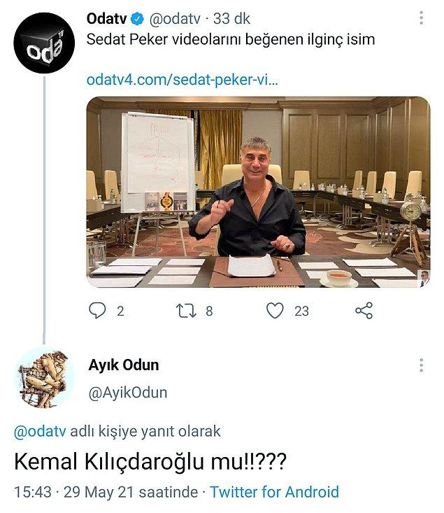 23. Hayır, Kılıçdaroğlu paylaşımı yapan kişi direkt. :)