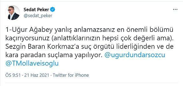 Sedat Peker'in konuya ilişkin paylaşımları şöyle: