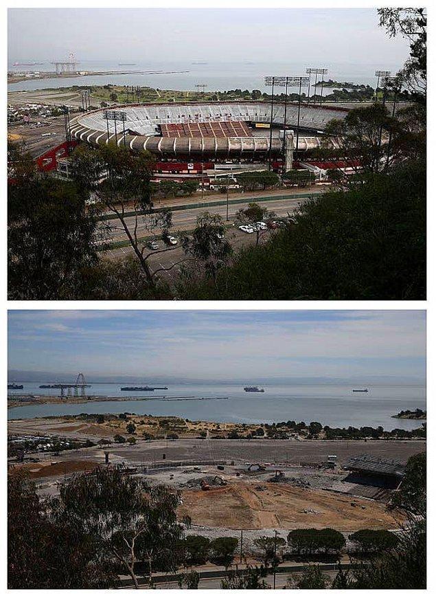 9. San Fransisco'daki Candlestick Park'ının yıkılmadan öncesi ve sonrası: