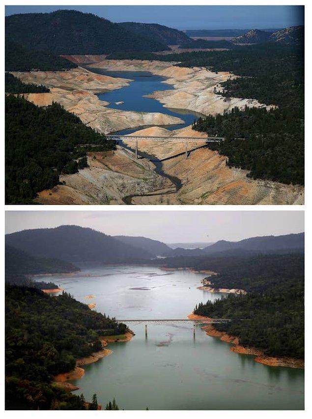 13. Kaliforniya'da bulunan Oroville Gölü'nün üç yıl süren kuraklığın ardından çekilen fotoğrafı: