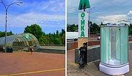 В Киеве неизвестные установили душевую кабину прямо у выхода метро