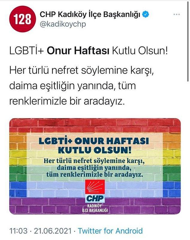 CHP Teşkilatları da LGBT Onur Haftasını Kutlamıştı