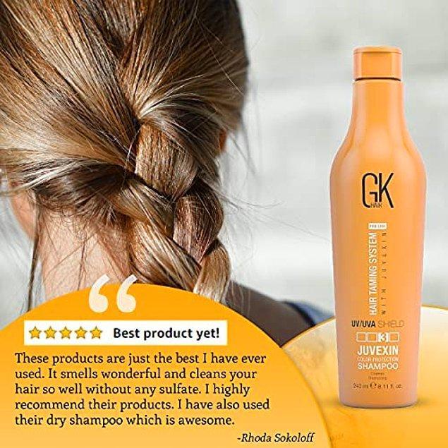 16. GKhair kalkan şampuan, saç kuruluğuna ve ayrık uçlara neden olan zararlı güneş ışınlarının engellenmesine yardımcı olan UV / UVA korumaya sahip.