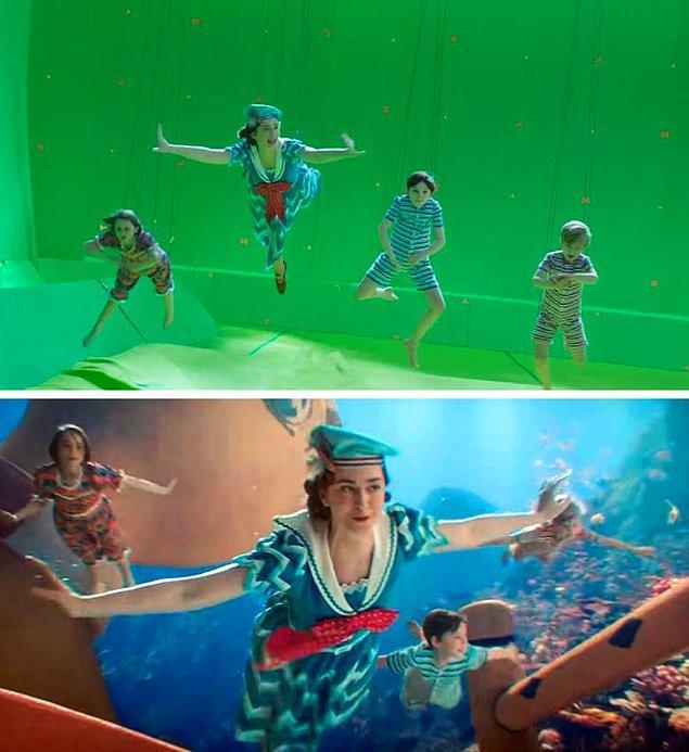 18. Mary Poppins Returns filminde fantastik ve büyülü sahneler de özel efektler kullanılarak çekildi.